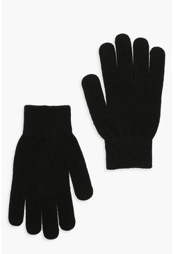 Womens Black Basic Gloves