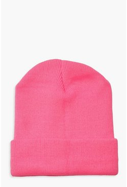 Womens Pink Basic Knitted Beanie