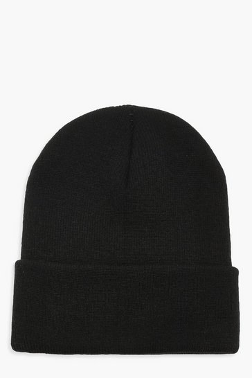 Womens Black Basic Knitted Beanie
