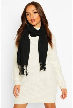 Basic Plain Tassel Fringe Scarf, Black
