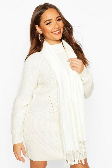 Cream Basic Plain Tassel Fringe Scarf