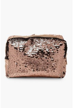 Womens Rose gold Reversible Sequin Make Up Bag