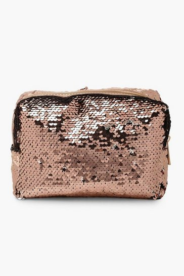 Rose gold Reversible Sequin Make Up Bag