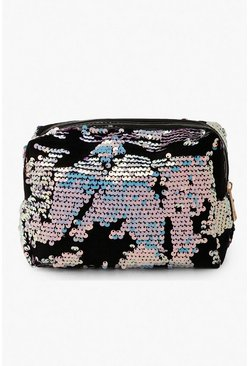 Holographic Sequin Makeup Bag, Blue