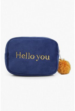 Velour Pom Pom Slogan Makeup Bag, Blue