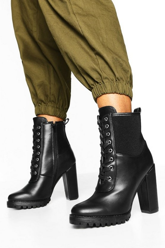 Elastic Gusset Lace Up Block Heel Hiker Boots
