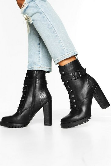 Black Croc Panel Buckle Detail Block Heel Hiker Boots