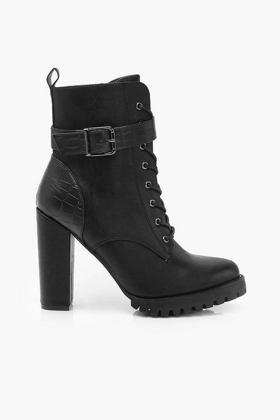 Croc Panel Buckle Detail Block Heel Hiker Boots