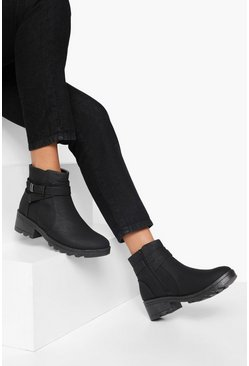 Black Buckle Detail Chunky Chelsea Boots