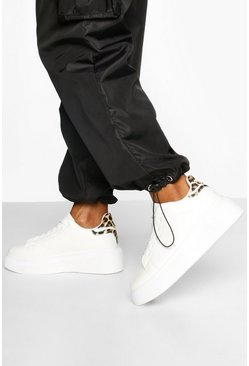 White Leopard Panel Chunky Platform Lace Up Trainers
