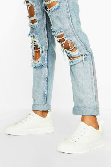 White Croc Panel Lace Up Flat Trainers