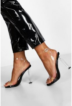 Womens Black Wide Fit Clear Heel 2 Parts