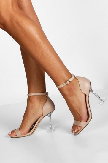 Womens Nude 2 Part Interest Clear Heels