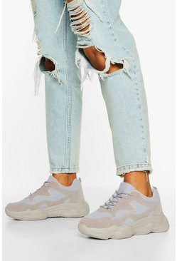 Womens Grey Lace Up Bubble Sole Trainers