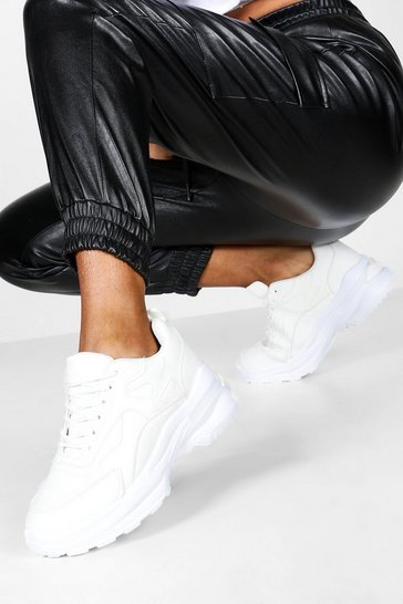 White Chunky Lace Up Trainers