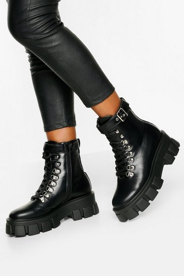 Black Belt Chunky Sole Hiker Boots