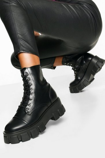 Womens Black Chunky Cleated Hiker Boots