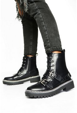 Black Chunky Buckle Chain Hiker Boots