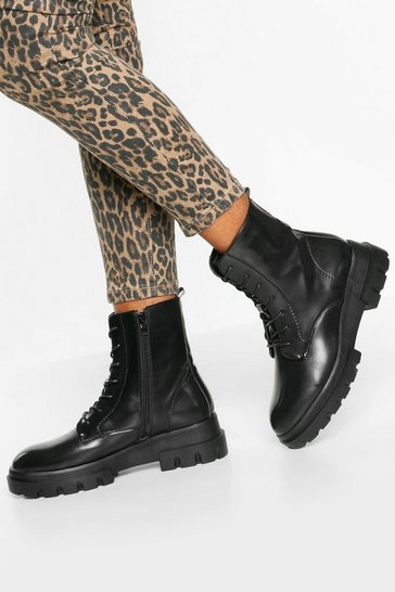 Womens Black Chunky Cleated Sole Hiker Boots