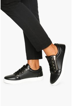 Black Wide Fit Zip Side Snake Effect Sneakers