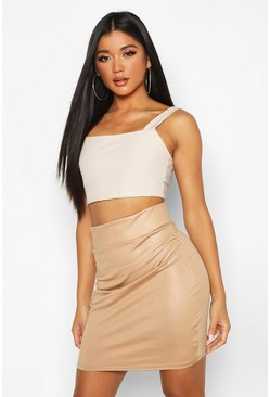 Camel Wet Look Highwaist Mini Skirt