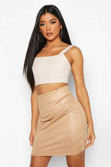Womens Camel Wet Look Highwaist Mini Skirt