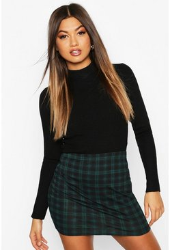 Green Tartan Check Jersey Mini Skirt