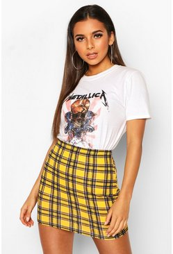 Womens Yellow Tartan Check Mini Skirt