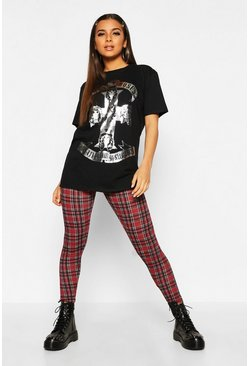 Berry Tartan Check Basic Jersey Leggings
