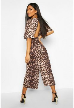 Flared Sleeve Leopard Culotte Jumpsuit