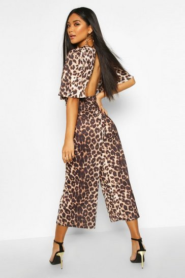 Womens Flared Sleeve Leopard Culotte Jumpsuit