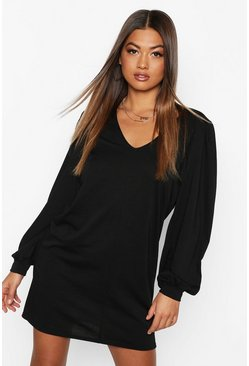 Womens Black Puff Sleeve V Neck Sweat Dress