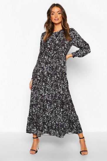 Womens Black Ditsy Floral Tiered Maxi Smock Dress