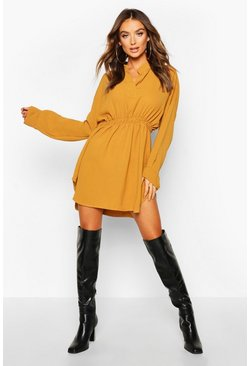 Womens Mustard Woven Shirred Waist Shirt Dress
