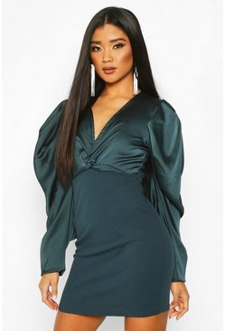 Teal Extreme Puff Sleeve Twist Front Bodycon Dress