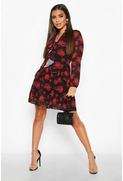 Womens Black Rose Print Ruffle Smock Dress