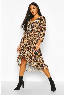 Womens Leopard Print Ruffle Tie Waist Midi Dress