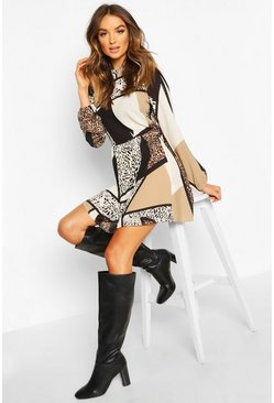 Brown Animal Print Ruffle Neck Smock Dress