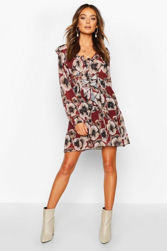 Womens Berry Floral Print Ruffle Detail Smock Dress