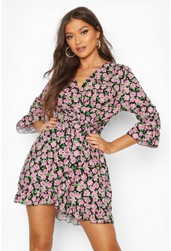 Black Woven Rose Print Tie Waist Tea Dress