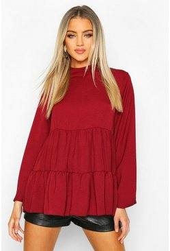 Berry Woven High Neck Tunic Smock Top