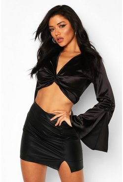 Black Satin Twist Front Flared Sleeve Crop Top