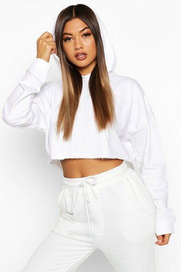White The Basic Cropped Hoody