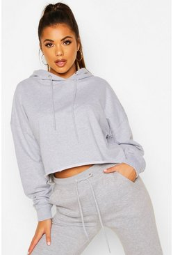 Grey marl The Basic Cropped Hoody