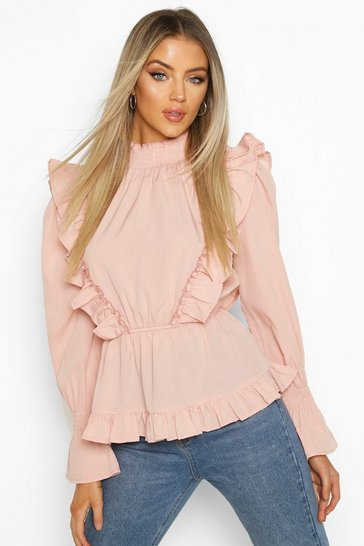 Blush Ruffle Shirred Neck Peplum Top