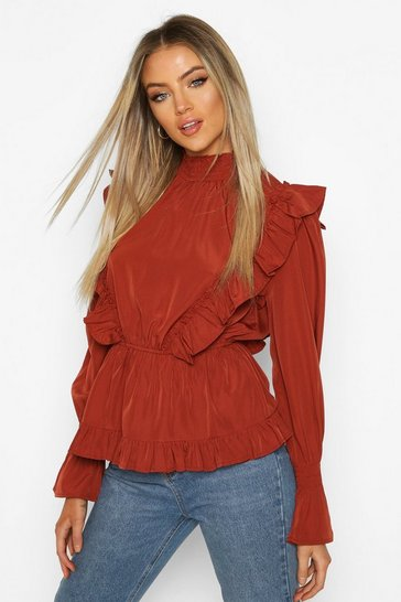 Rust Ruffle Shirred Neck Peplum Top