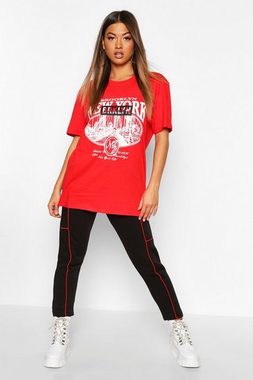 Womens Red Brooklyn Slogan Oversized Tee