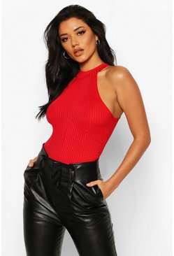 Red Ribbed High Neck Seam Detail Bodysuit