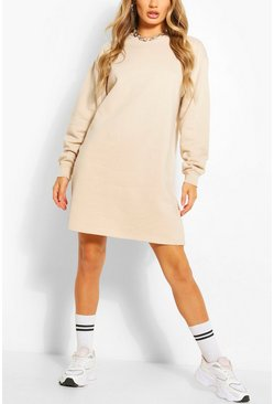 Sand Recycled Oversized Sweat Dress