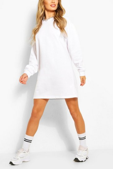 White Recycled Oversized Sweat Dress